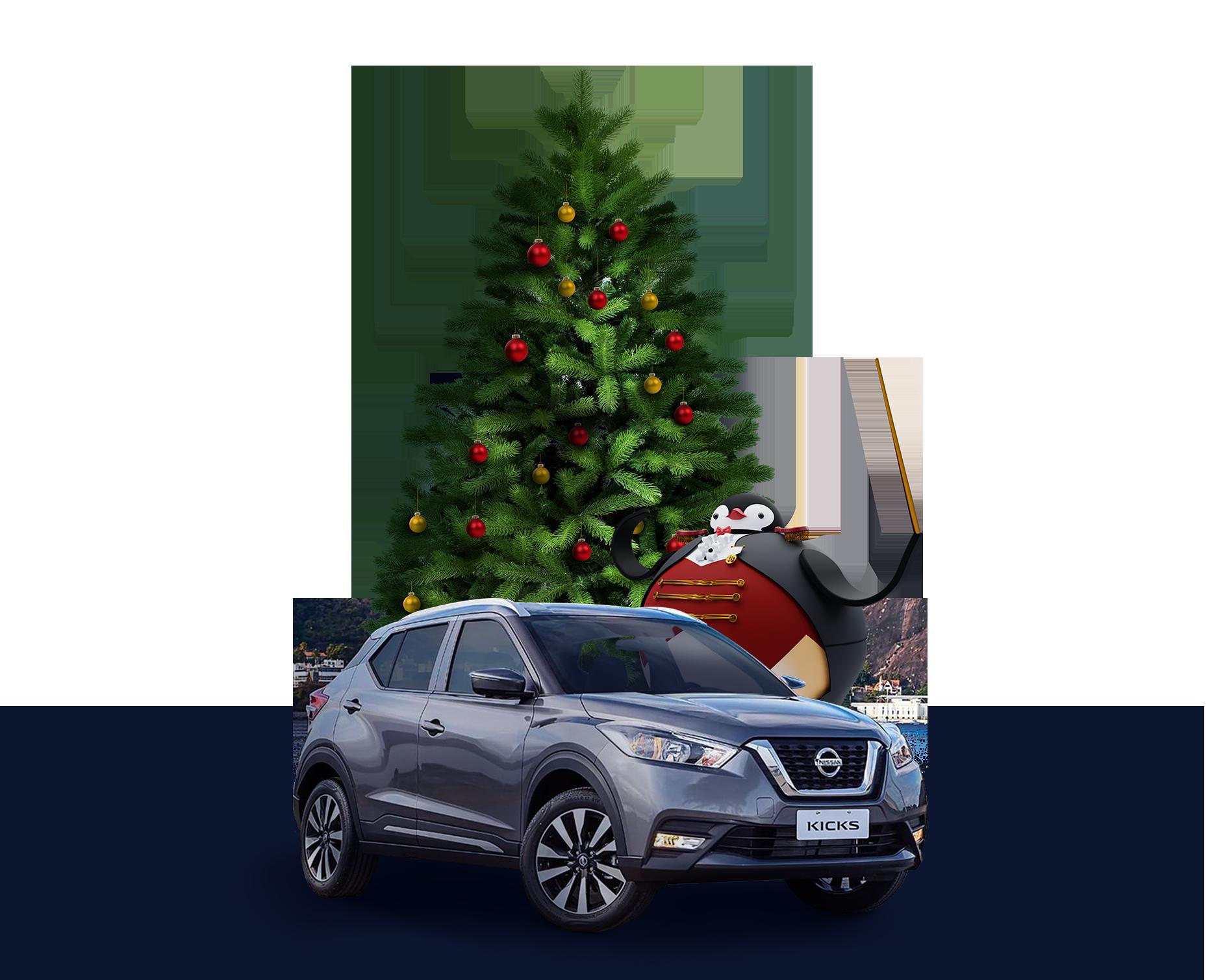 Arbol de navidad y carro