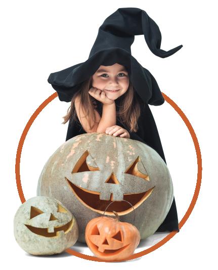 Bruja y calabaza halloween